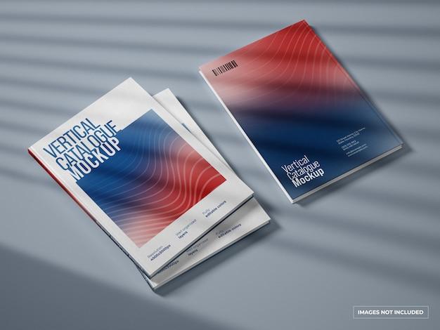 Catálogo vertical y maqueta de portada de revista
