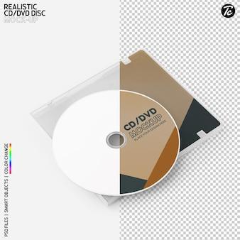 Cd-schijf en cd-doosomslag mockupontwerp geïsoleerd