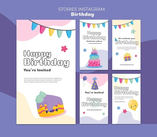 Celebración de cumpleaños historias de instagram