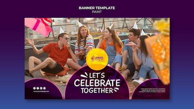Celebración de fiestas con plantilla de banner de sombreros