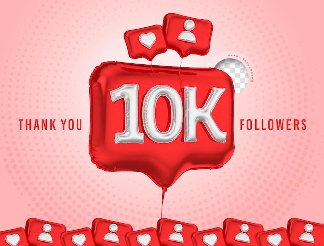 Celebración de globos 10k seguidores gracias 3d render social media