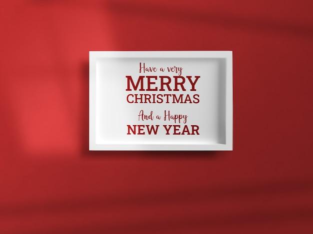 Celebración de navidad maqueta de sombra de marco de pared
