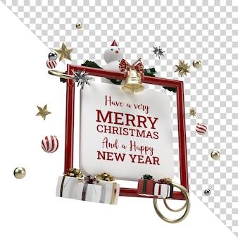 Celebración de navidad objeto volador render anuncio aislado