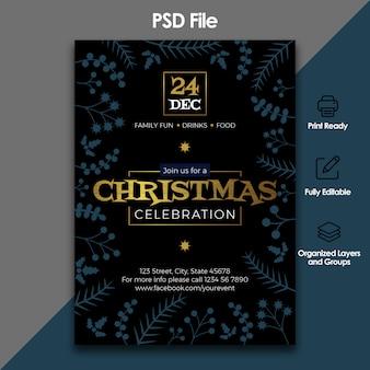 Celebración navideña y plantilla de invitación