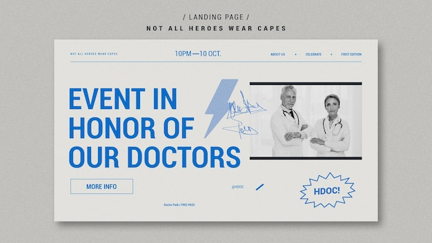 Celebrando el diseño de la página de inicio de los médicos
