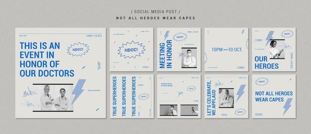 Celebrando publicaciones de redes sociales de médicos