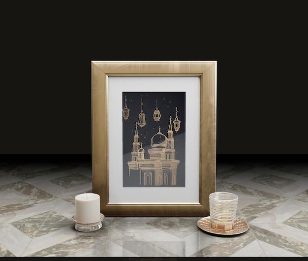 Celebrazione del capodanno islamico con cornice e candela