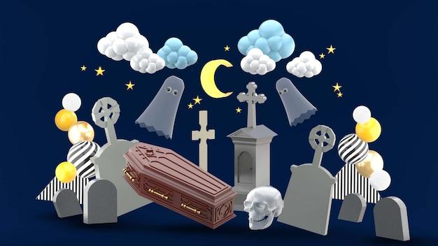 El cementerio está rodeado de lápidas y fantasmas bajo el cielo nocturno.