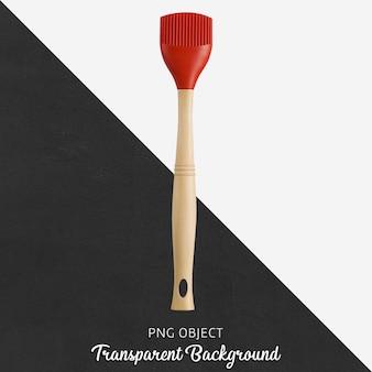 Cepillo de cocina de silicona transparente con mango rojo y madera.