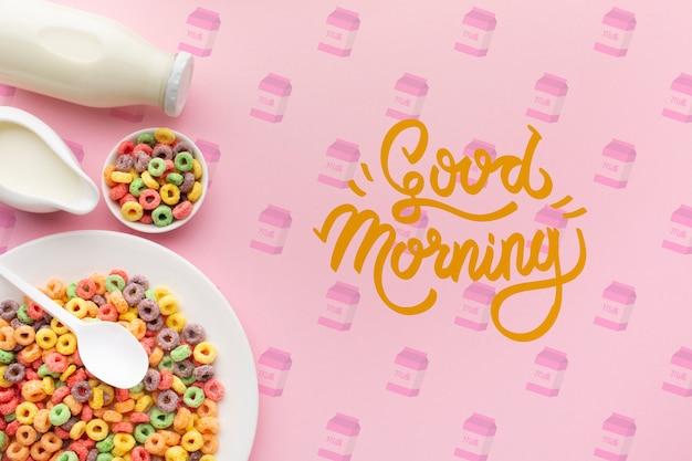 Cereales y leche para un desayuno saludable.