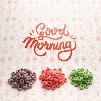 Cereales en pila y mensaje de buenos días