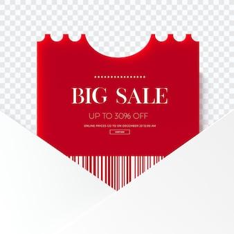 Cerrar en etiqueta de ropa de venta rojo 3d aislado