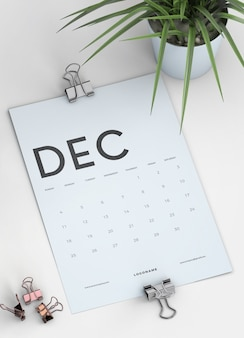 Cerrar maqueta de calendario portapapeles en escritorio