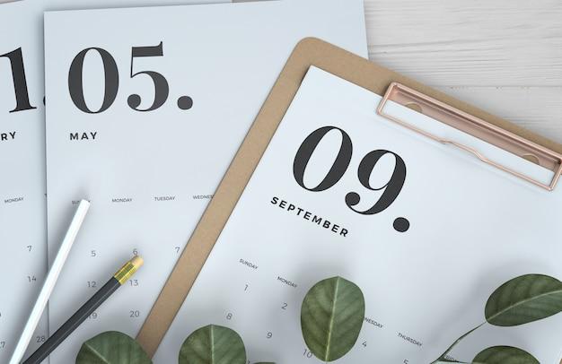 Cerrar maqueta de calendario portapapeles
