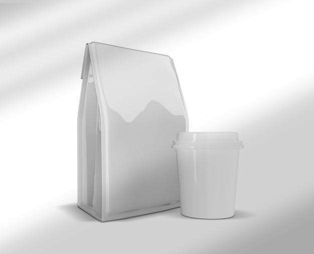 Cerrar en maqueta de envases y tazas de café