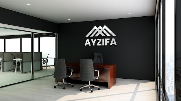 Cerrar la maqueta del logotipo en la oficina de gestión