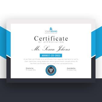 Certificaatsjabloon voor professionele blauwe bedrijven