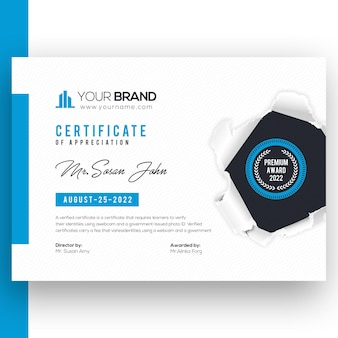 Certificado de empresa corporativa con plantilla azul rasgada rasgada