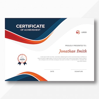 Certificado de ondas azules y naranjas