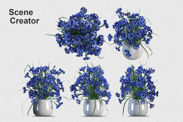 Cesta de flores de vista superior en representación 3d