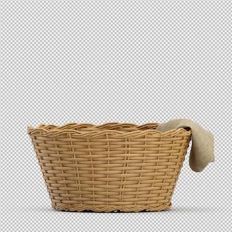 Cesta isométrica picnic 3d render aislado