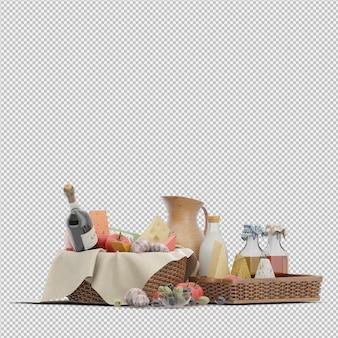 Cesta de picnic con comida render 3d