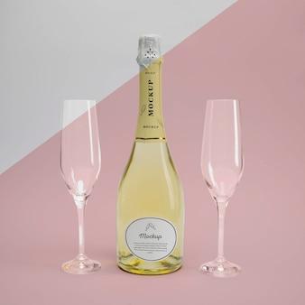Champagnefles met mock-up