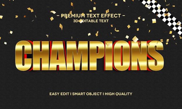 Champions 3d-tekststijleffectsjabloon