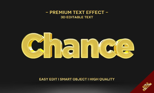 Chance 3d gold-tekststijleffectsjabloon