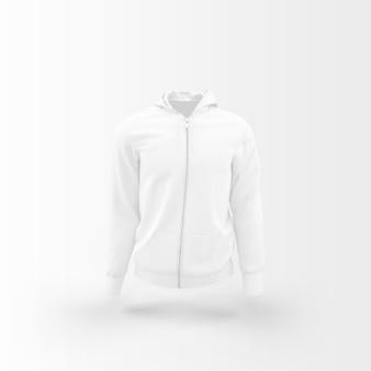 Chaqueta blanca flotando en blanco