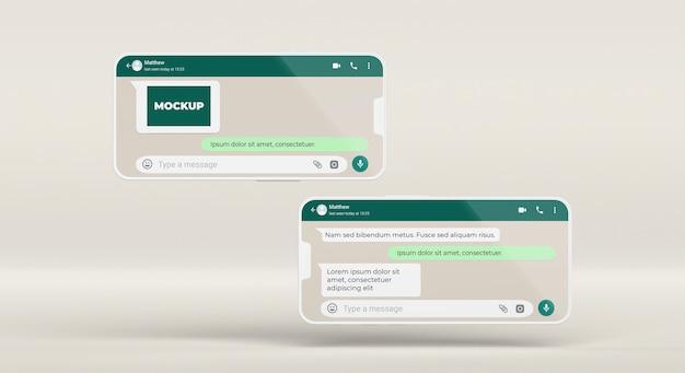 Chat mockup smartphones arrangement
