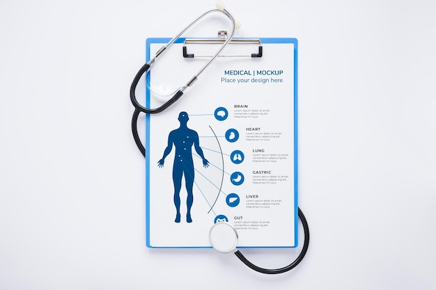 Check-up medico vista dall'alto con mock-up