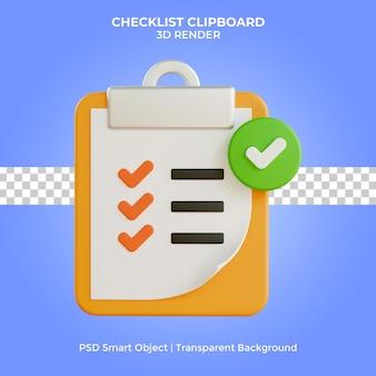 Checklist klembord illustratie 3d render geïsoleerd premium psd
