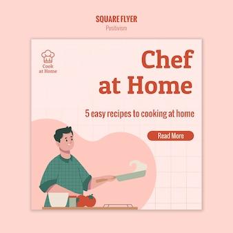 Chef-kok thuis vierkante flyer ontwerpen