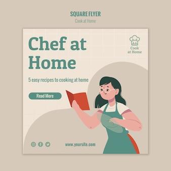 Chef-kok thuis vierkante flyer stijl