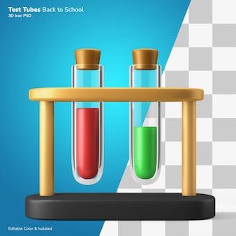 Chemie glazen reageerbuis met vloeibaar 3d-rendering pictogram bewerkbaar geïsoleerd