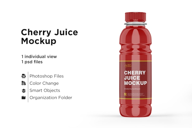 Cherry juice bottle mockup