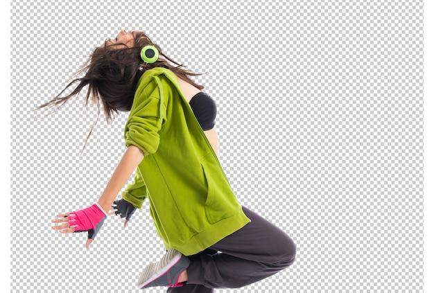 Chica adolescente bailando street dance style
