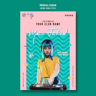 Chica de estilo anime-comic con plantilla de póster de cabello azul