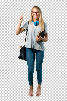 Chica estudiante con gafas mostrando y levantando un dedo en señal de lo mejor