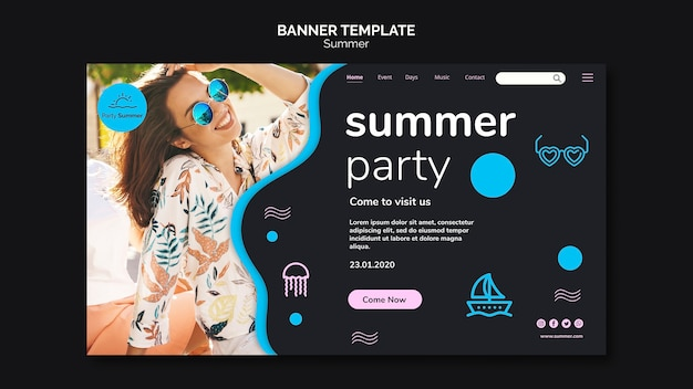 Chica de fiesta de verano con banner de gafas de sol