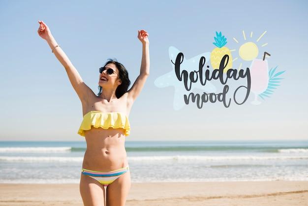 Chica de humor de vacaciones de maqueta