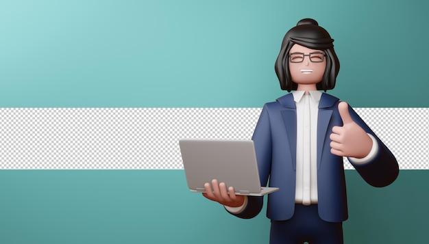 Chica de negocios feliz pulgar hacia arriba con portátil en render 3d