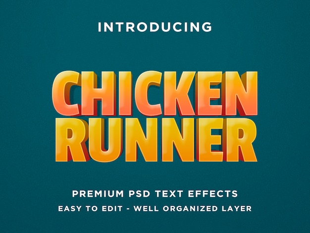 Chicken runner - 3d teksteffect psd-sjabloon