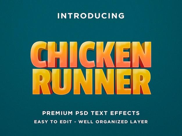 Chicken runner - modello psd effetto testo 3d