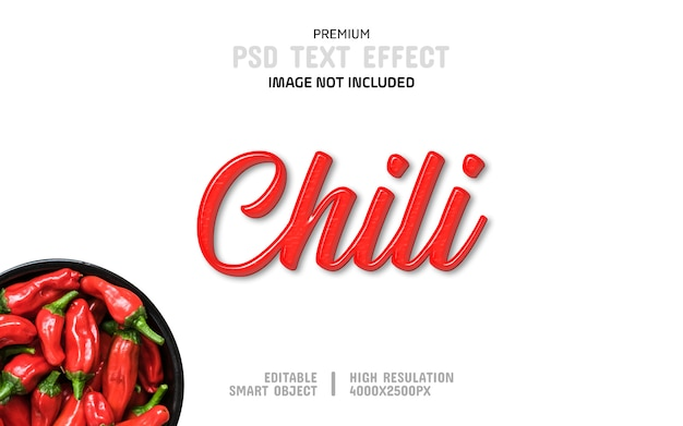 Chili text effect template rosso