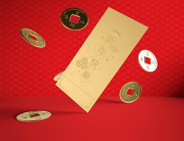 Chinees nieuw jaarconcept met gouden muntstukken