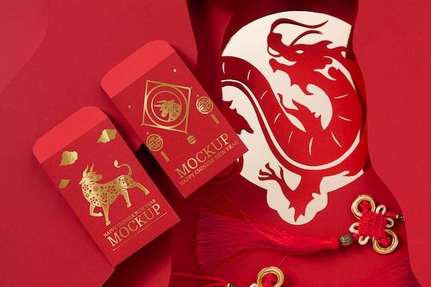 Chinees nieuwjaar mock-up elementen assortiment