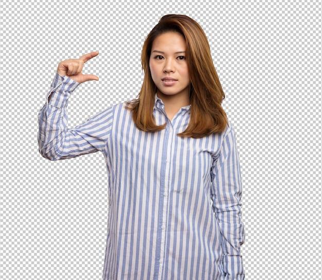 Chinese vrouw die groottegebaar doet