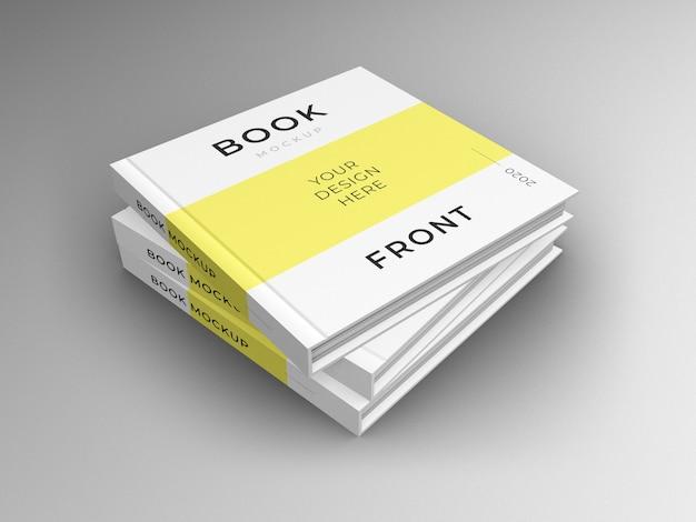 Chiuda in su mockup di copertina di pila di libri quadrati
